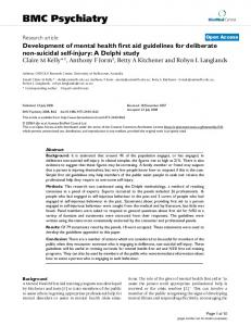 Development of mental health first aid guidelines for deliberate non ...