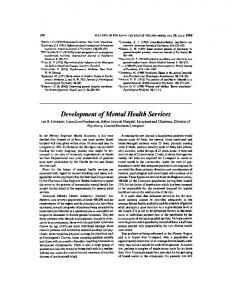 Development of Mental Health Services