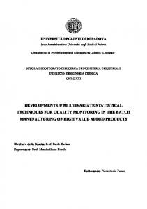 development of multivariate statistical techniques for ...