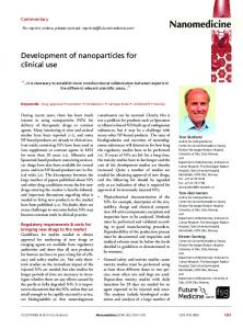 Development of nanoparticles for clinical use - Future Medicine