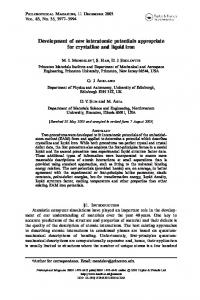 Development of new interatomic potentials appropriate for crystalline ...
