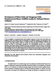 Development of Nickel Oxide and Manganese Oxide Nanostructured