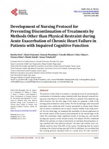 Development of Nursing Protocol for Preventing ...