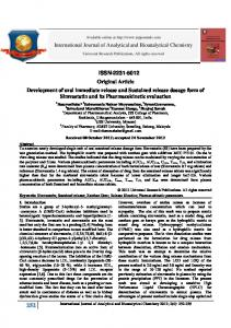Development of oral immediate release and Sustained release ...