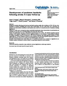 Development of persistent headache following stroke: A 3 ... - CiteSeerX