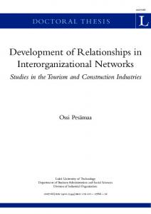 Development of relationships in interorganizational
