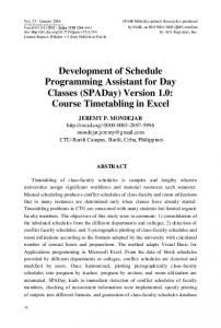 Development of Schedule Programming Assistant for Day Classes ...
