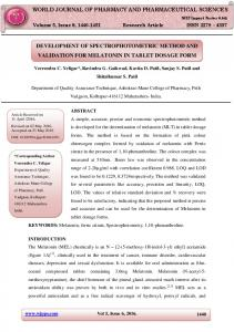 development of spectrophotometric method and validation for ... - wjpps