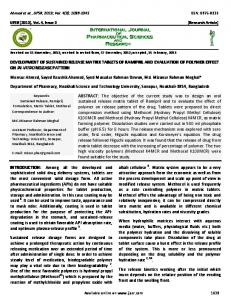 DEVELOPMENT OF SUSTAINED RELEASE MATRIX TABLETS OF ...