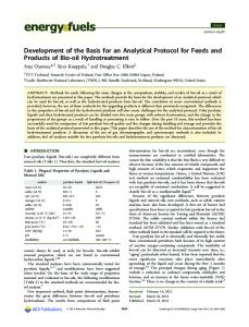 Development of the Basis for an Analytical Protocol ... - ACS Publications