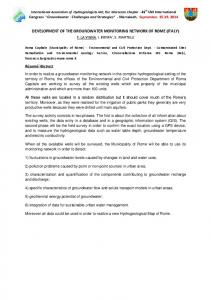 development of the groundwater monitoring network ... - Roma Capitale