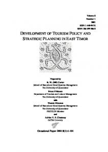 tourism policy planning and development Project development for sustainable tourism • consultants involved in tourism planning and development eisenhower professor of tourism policy at the.