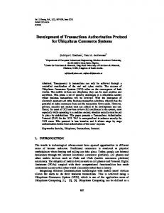 Development of Transactions Authorization ... - Semantic Scholar