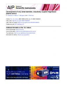 Development of very small-diameter, inductively coupled magnetized