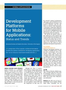 Development Platforms for Mobile Applications: