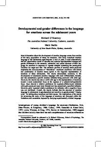 Developmental and gender differences in the language for emotions ...