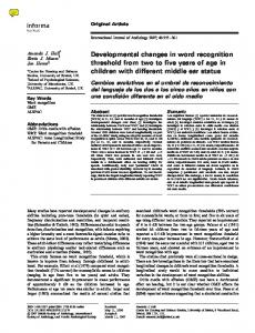 Developmental changes in word recognition ... - BioMedSearch