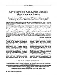 Developmental Conduction Aphasia after ... - Wiley Online Library