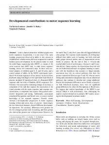 Developmental contributions to motor sequence learning - Concordia ...
