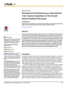 Developmental Patterning as a Quantitative Trait - Semantic Scholar