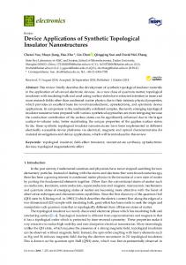 Device Applications of Synthetic Topological Insulator ... - MDPI