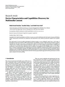 Device Characteristics and Capabilities Discovery for Multimedia ...