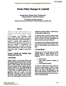 Device Policy Manager in Android - International Journal of ...