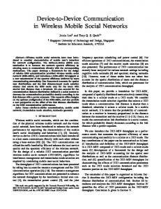 Device-to-Device Communication in Wireless Mobile Social Networks