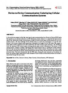 Device-to-Device Communication Underlaying Cellular ...