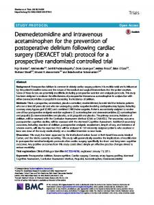 Dexmedetomidine and intravenous acetaminophen for the prevention ...