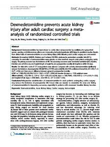 Dexmedetomidine prevents acute kidney injury ... - Semantic Scholar