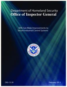 DHS Can Make Improvements to Secure Industrial Control Systems