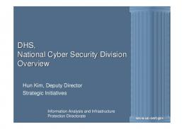 DHS, National Cyber Security Division Overview