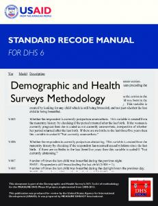 DHS VI Recode Manual [DHSG4] - Measure DHS