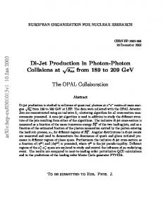 Di-Jet Production in Photon-Photon colisions at sqrt (s) ee from 189 to ...