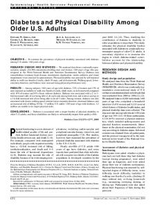 Diabetes and Physical Disability Among Older US ... - Diabetes Care