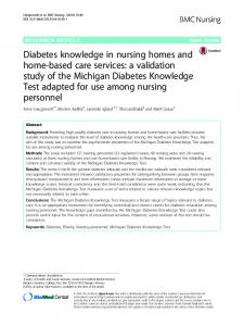 Diabetes knowledge in nursing homes and home-based care services ...