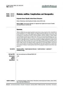 Diabetes mellitus: Complications and therapeutics - CiteSeerX