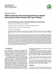 Diabetes Remission after Nonsurgical Intensive Lifestyle Intervention ...