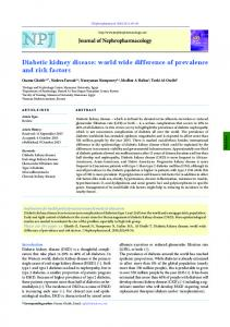 Diabetic kidney disease - Journal of Nephropharmacology