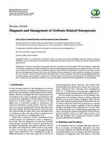 Diagnosis and Management of Cirrhosis-Related Osteoporosis