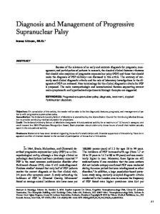Diagnosis and Management of Progressive Supranuclear Palsy