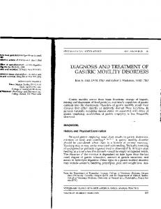 diagnosis and treatment of gastric motility disorders