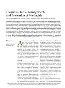 Diagnosis, Initial Management, and Prevention of Meningitis