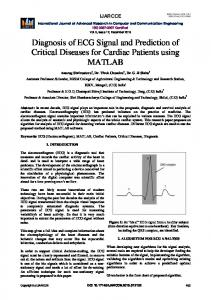 Diagnosis of ECG Signal and Prediction of Critical ... - IJARCCE