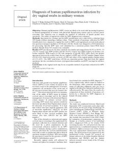 Diagnosis of human papillomavirus infection by dry vaginal swabs in ...