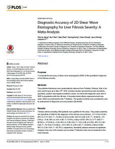 Diagnostic Accuracy of 2D-Shear Wave Elastography for Liver ... - PLOS