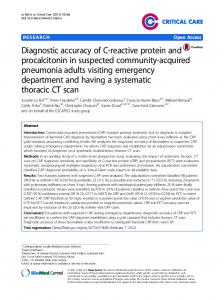 Diagnostic accuracy of C-reactive protein and procalcitonin in ...