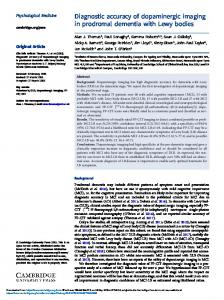 Diagnostic accuracy of dopaminergic imaging in ...