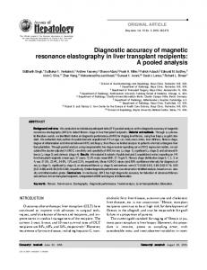 Diagnostic accuracy of magnetic resonance elastography in liver ...